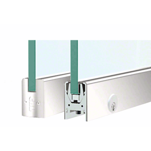 """CRL DR2SPS38PL Polished Stainless 3/8"""" Glass Low Profile Square Door Rail With Lock - 8"""" Patch"""