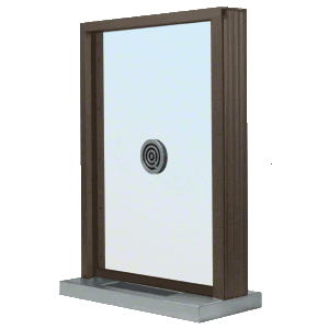 "Dark Bronze Bullet Resistant 24"" Wide Exterior Window with Speak-Thru and Shelf with Deal Tray for Walls 4-7/8"" Thick"