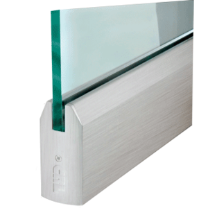 """CRL DR4TBS12S Brushed Stainless 1/2"""" Glass 4"""" Tapered Door Rail Without Lock - 35-3/4"""" Length"""