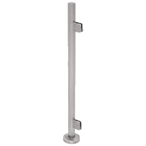 "CRL PS36EBS Brushed Stainless Steel 36"" Tall Round End Post Kit with Square Clamps"