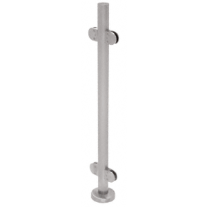 "CRL PR36CBS Brushed Stainless 36"" Steel Round Glass Clamp 180 Degree Center Post Railing Kit"