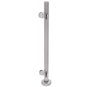"CRL PR42LBS Brushed Stainless 42"" Steel Round Glass Clamp 90 Degree Corner Post Railing Kit"
