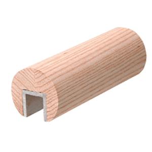 "CRL WCR25W0 White Oak 2-1/2"" Diameter Wood Cap Rail - 1/2"" or 5/8"" Glass"
