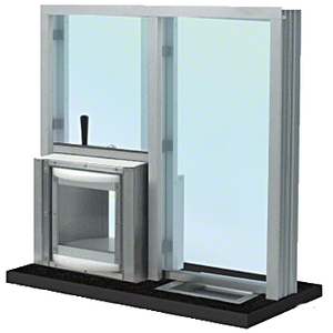 "Satin Anodized 36"" W x 36"" H Bullet Resistant Combination Exchange Window with Rotary Server Protection Level 1"