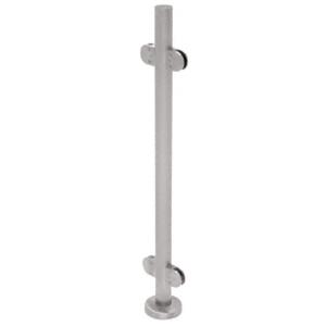 "CRL PR42CBS Brushed Stainless 42"" Steel Round Glass Clamp 180 Degree Center Post Railing Kit"