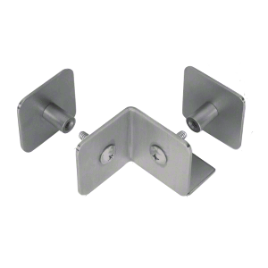 Brushed Stainless Bullet Resistant Protective Barrier System 90 Degree Bottom Mount Outside Clamp