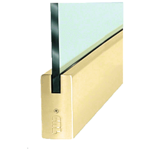 """CRL DR4SPB34S Polished Brass 3/4"""" Glass 4"""" Square Door Rail Without Lock - 35-3/4"""" Length"""
