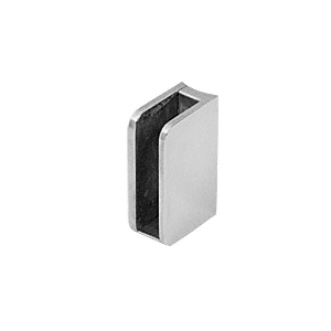 """CRL SA92BS Brushed Stainless Closed Bottom Right Hand Radius Base 3/8"""" Glass Clip"""