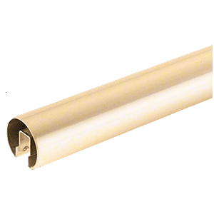 "CRL GR257PB14 C260 Alloy Polished Brass 2-1/2"" Premium Cap Rail for 3/4"" Glass - 168"""
