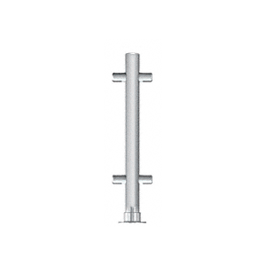 "CRL PP65CBS Brushed Stainless 18"" High 1"" Round PP65 Slimline Series Slant Front Counter/Partition Center Post"