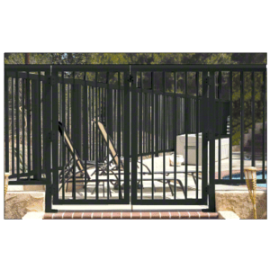 """CRL 3PG3642BL Matte Black 36"""" 300 Series Aluminum Railing System Gate With Picket for 1/4"""" to 3/8"""" Glass"""