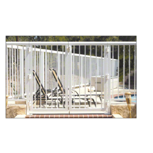 """CRL 2PG3642W Sky White 36"""" 200 Series Aluminum Railing System Gate With Picket for 1/4"""" to 3/8"""" Glass"""