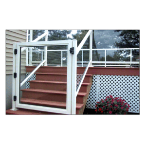 """CRL 3GG3642W Sky White 36"""" 300 Series Aluminum Railing System Gate for 1/4"""" to 3/8"""" Glass"""