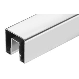 "CRL GRSC15PS Polished Stainless Steel 1-1/2"" Square Crisp Corner Cap Rail for 1/2"" Glass"