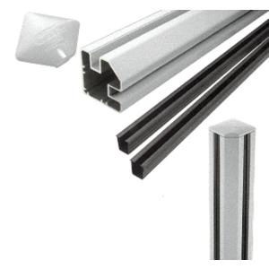 """CRL S72CRKS Silver Metallic AWS 2"""" x 2-5/8"""" Rectangular 90 Degree 72"""" Corner Post Kit"""