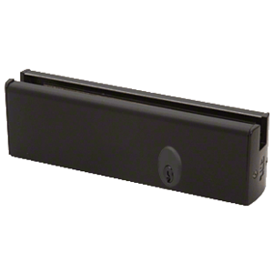 """CRL DR2SBL12PL Black Powder Coated 1/2"""" Glass Low Profile Square Door Rail With Lock - 8"""" Patch"""