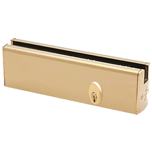 """CRL DR2SPB12PL Polished Brass 1/2"""" Glass Low Profile Square Door Rail with Lock - 8"""" Patch"""