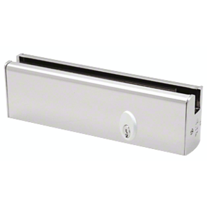 """CRL DR2SPS12PL Polished Stainless 1/2"""" Glass Low Profile Square Door Rail With Lock - 8"""" Patch"""