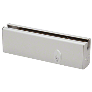 """CRL DR2SSA12PL Satin Anodized 1/2"""" Glass Low Profile Square Door Rail With Lock - 8"""" Patch"""