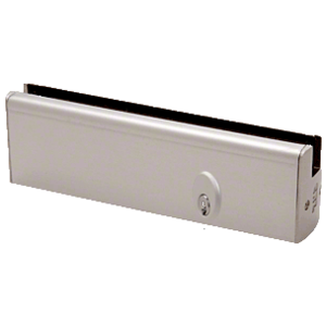 """CRL DR2SBS12PL Brushed Stainless 1/2"""" Glass Low Profile Square Door Rail With Lock - 8"""" Patch"""