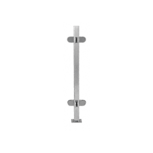 "Brushed Stainless 18"" High 1"" Square PP48 Mini Plaza Series Partition 3-Way Post With Mini Z-Clamps"