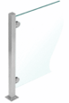 "CRL PP48TBS Brushed Stainless 18"" High 1"" Square PP48 Mini Plaza Series Partition 3-Way Post With Mini Z-Clamps"