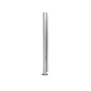 "Brushed Stainless 18"" x 1"" SBPP08 Slimline Series Round End Partition Post"