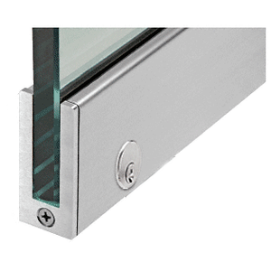 """Brushed Stainless Left Hand 2-1/2"""" Tall Slender Profile Door Rail With Lock 35-3/4"""" (908 mm) Standard Length"""