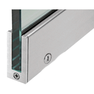 """Brushed Stainless RH 2-1/2"""" Tall Slender Profile Door Rail With Lock 35-3/4"""" (908 mm) Standard Length"""
