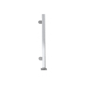 """Polished Stainless 18"""" High 1"""" Square PP48 Mini Plaza Series Partition End Post with Mini Z-Clamps"""