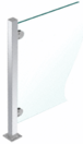 """CRL PP48EPS Polished Stainless 18"""" High 1"""" Square PP48 Mini Plaza Series Partition End Post with Mini Z-Clamps"""