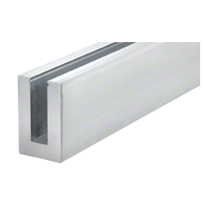 """Mill Aluminum 120"""" B6N Series Standard Square Base Shoe Drilled with 9/16"""" Fascia Pattern 'F' for 5/8"""" Tempered Glass - 12"""" C.T.C."""