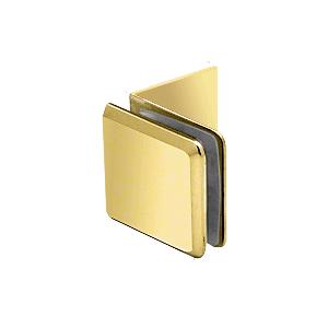 Polished Brass Fixed Panel Beveled Clamp With Large Leg