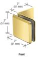 CRL BGC039BR Polished Brass Fixed Panel Beveled Clamp With Large Leg