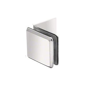 Polished Nickel Fixed Panel Beveled Clamp With Large Leg