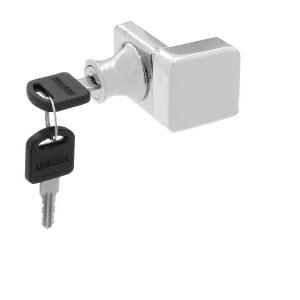 Brushed Nickel UV Glass Door Lock for Overlay Doors - Keyed Alike