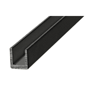 "CRL D631BL Black 1/4"" Single Aluminum U-Channel"