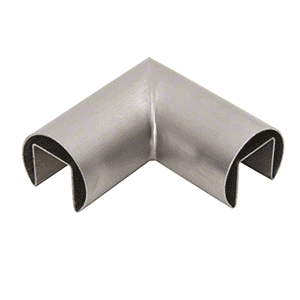 "CRL GRRF20HBS 1-7/8"" Brushed Stainless Steel 90 Degree Horizontal Roll Formed Cap Rails Corner"