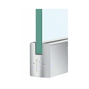 """CRL DR2SSA38PL Satin Anodized 3/8"""" Glass Low Profile Square Door Rail With Lock - 8"""" Patch"""