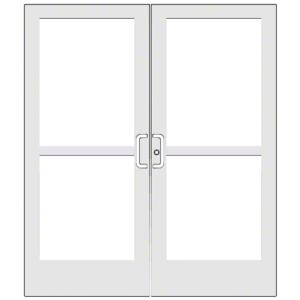 "CRL-U.S. Aluminum CZ427520072 White KYNAR Paint 400 Series Medium Stile Pair 6'0 x 7'0 Center Hung for OHCC w/Standard Push Bars Complete Panic Door with Std. Panic and 9-1/2"" Bottom Rail"