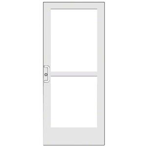 "CRL-U.S. Aluminum CZ42752LA36 White KYNAR Paint 400 Series Medium Stile Active Leaf of Pair 3'0 x 7'0 Center Hung for OHCC w/Standard Push Bars Complete Panic Door with Std. Panic and 9-1/2"" Bottom Rail"