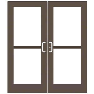 CRL-U.S. Aluminum DZ52722 Bronze Black Anodized Custom Pair Series 550 Wide Stile Center Pivot Entrance Doors With Panics for Overhead Concealed Door Closers