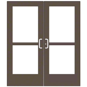 """CRL-U.S. Aluminum CZ527220072 Bronze Black Anodized 550 Series Wide Stile Pair 6'0 x 7'0 Center Hung for OHCC w/Standard Push Bars Complete Panic Door with Std. Panic and 9-1/2"""" Bottom Rail"""