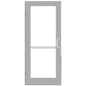 CRL-U.S. Aluminum DC52511R136 Clear Anodized 550 Series Wide Stile Inactive Leaf of Pair 3'0 x 7'0 Offset Hung with Butt Hinges for Surf Mount Closer Complete Door Std. MS Lock and Bottom Rail