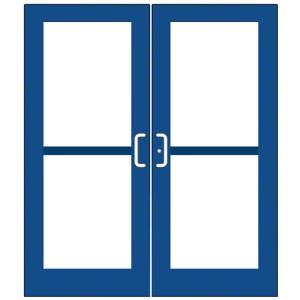 CRL-U.S. Aluminum DZ52771 Custom KYNAR Paint Custom Pair Series 550 Wide Stile Center Pivot Entrance Doors With Panics for Overhead Concealed Door Closers
