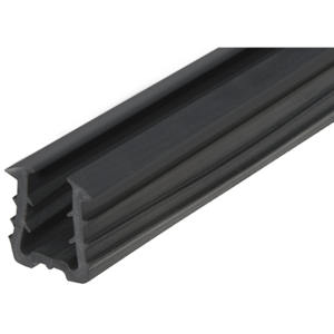 "CRL SRF1513PV Roll Form Cap Rail Black Rubber Insert for 1/2"" and 5/8"" Monolithic Glass and 9/16"" Laminated Glass"