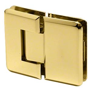 CRL P1N180BR Polished Brass Pinnacle 180 Series 180 Degree Glass-to-Glass Standard Hinge