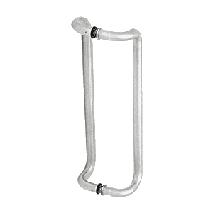 "Polished Stainless 18"" Glass Mounted Offset Pull Handle"