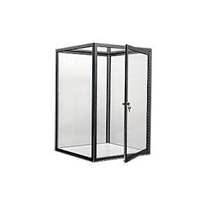 CRL D4041BBL Brite Black Custom Size Avalon Showcase with Hinged Door on One End