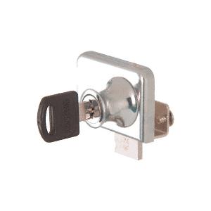 "CRL LK46KA Chrome Clamp-On Lock for 1/4"" Double Glass Door - Keyed Alike"